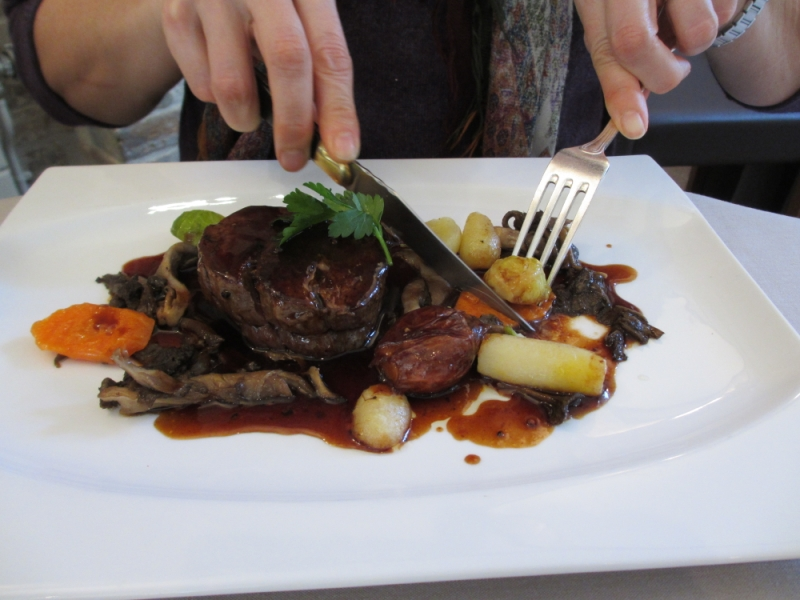 Don't call it just beef: At La Chaumière in rural France, everything turns very French.