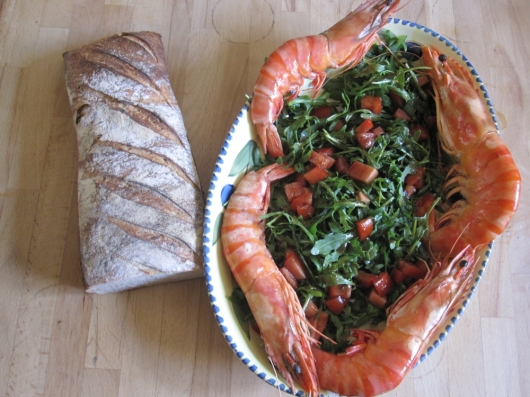 Gambas, salad make a meal.